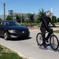 "IUPUI's Transportation Active Safety Institute, or TASI, has worked with Toyota's Collaborative Safety Research Center on advanced test targets for bicyclist pre-collision systems. Its next project will explore driving features called ""road-departure detection and control."" Photo courtesy of TASI"